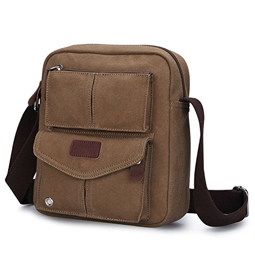 Catmacas Small Vintage Durable Multi-pocket Canvas Shoulder Ipad ... 02b2623786